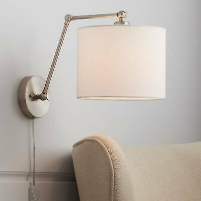 BRUSHED NICKEL WALL Mount Swing Arm Reading Bedside Lamp ...