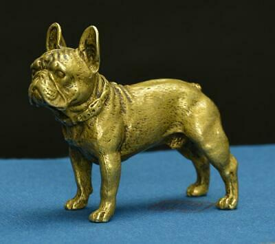 China Pure brass solid Sand leather dog small statue
