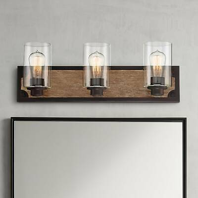 "Rustic Farmhouse Wall Light Wood Accented Black 23"" 3-Light Fixture for Bathroom"