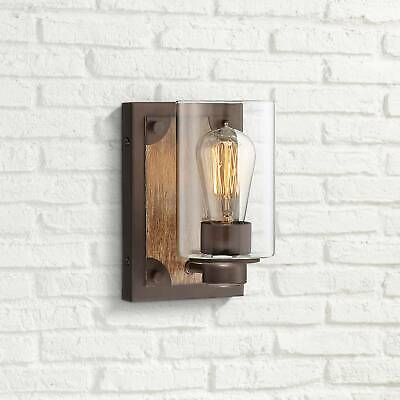 "Rustic Farmhouse Wall Light Sconce Wood Accented Bronze 8"" Fixture for Bathroom"