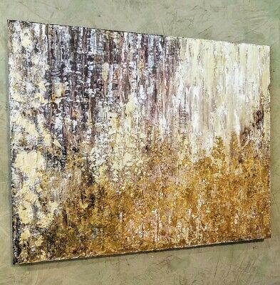 LARGE Gold Leaf Gold Foil Textured Abstract Painting  24x30 Earth Tones