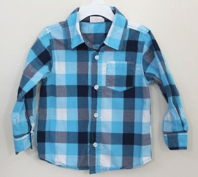 Crazy Eight 8 Toddler Boy Plaid Long Sleeve Button Front Shirt Size 2T