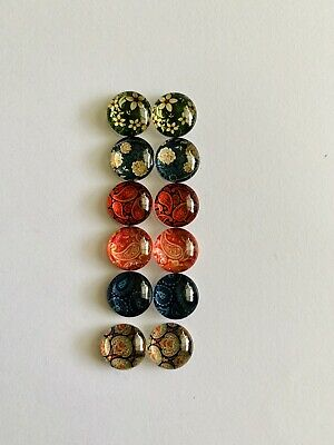 6 Pairs Of 10mm Glass Cabochons #1045