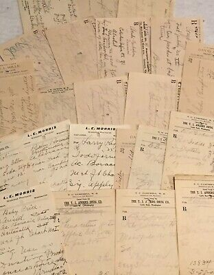 Obsolete Paper prescriptions Random Lot Of 10 Druggist Rx C1899-1905
