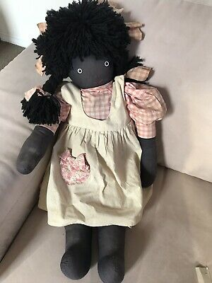 Large Vintage Black Fabric Doll