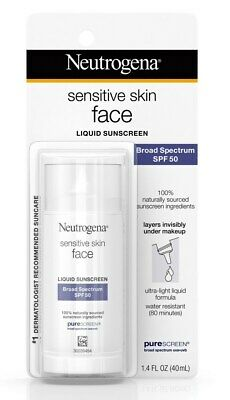 Neutrogena Sensitive Skin Face Liquid Sunscreen Broad Spectrum SPF 50 1.4 Fl. Oz