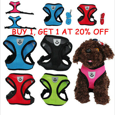 Breathable Mesh Small Dog Pet Harness and Leash Set Puppy Vest 4 Size & 5 Colors