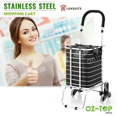 Stainless Steel Shopping Trolley Carts Folding Market Grocery Luggage Basket Bag