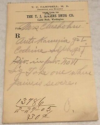 RARE OBSOLETE PAPER PRESCRIPTION RX Druggist PHARMACY MEDICINE APOTHECARY #37