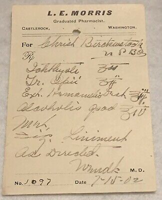 RARE OBSOLETE PAPER PRESCRIPTION RX Druggist PHARMACY MEDICINE APOTHECARY #46