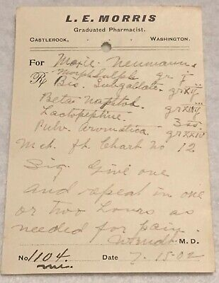 RARE OBSOLETE PAPER PRESCRIPTION RX Druggist PHARMACY MEDICINE APOTHECARY #47