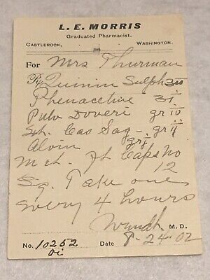 RARE OBSOLETE PAPER PRESCRIPTION RX Druggist PHARMACY MEDICINE APOTHECARY #50