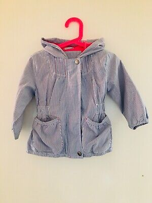 Blue White & Pink Marks & Spencer Striped Jacket Age 2-3 Years (2968)