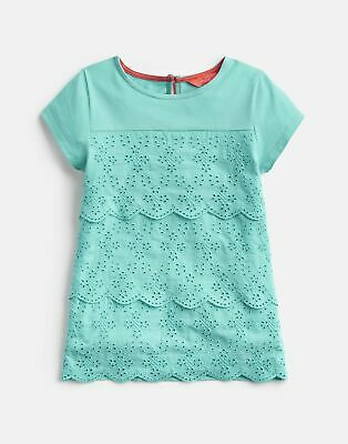 Joules Girls Brodie Broderie Detailed Top 3 12 Yr in TURQUOISE