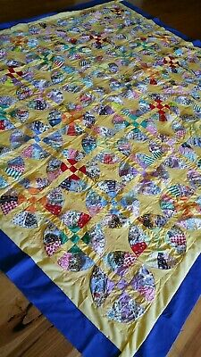 Vintage feedsack Wagon Wheel quilt top