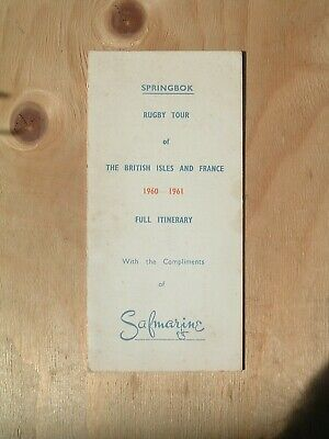 Springboks South Africa Rugby Tour Itinerary British Isles & France 1960-1961.