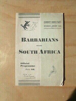 Barbarians v South Africa Rugby Programme Cardiff Arms Park Sat. Jan. 26th, 1952