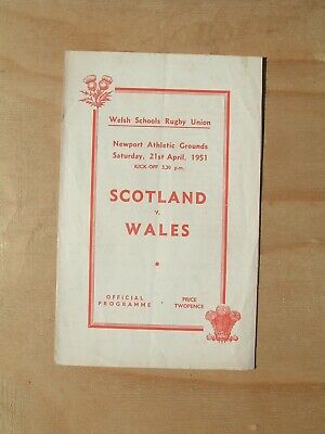 Welsh Schools Rugby Union Programme Scotland v Wales Saturday, 21st April 1951.
