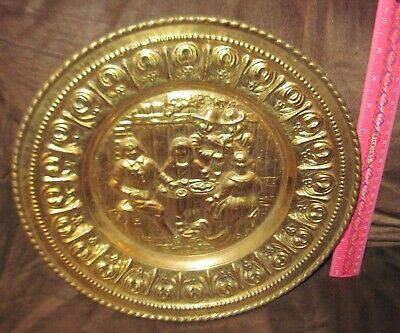 Vtg Embossed Brass Decorative Wall Plate/ Colonial Pub Dinner / England - Peerag