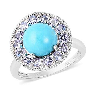 925 Sterling Silver Sleeping Beauty Turquoise Tanzanite Halo Ring Size 8 Ct 3.3