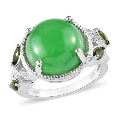 925 Sterling Silver Dyed Jade Chrome Diopside Statement Ring Size 10 Ct 8.3