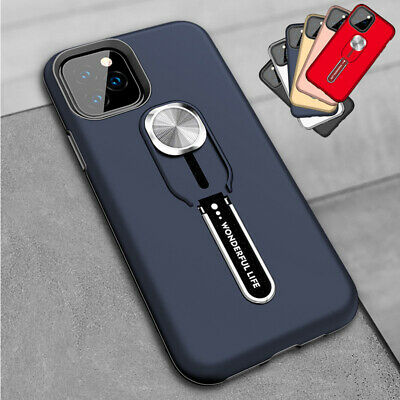 For iPhone 11 Pro Max XS XR 8 Magnetic Armor Finger Ring Holder Stand Case Cover