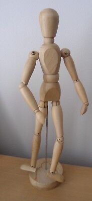 "Wooden 12"" Manikin Mannequin Figure Artist Sketching Drawing Model On Stand"