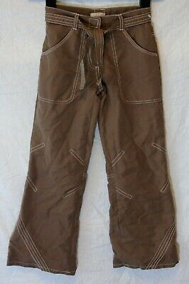 Girls Matalan Brown Fully Lined Flared Wide Leg Belted Trousers Age 6-7 Years