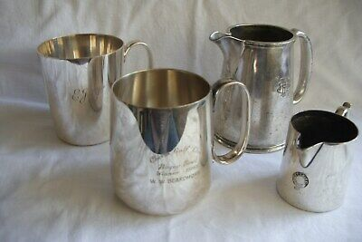 4 x Vintage / Antique Silver Plated Tankards / cups / jugs.