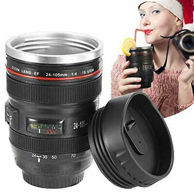 GPCT Camera Lens Coffee Mug with Lid, Travel Len Mug Canon, Stainless Steel Ther