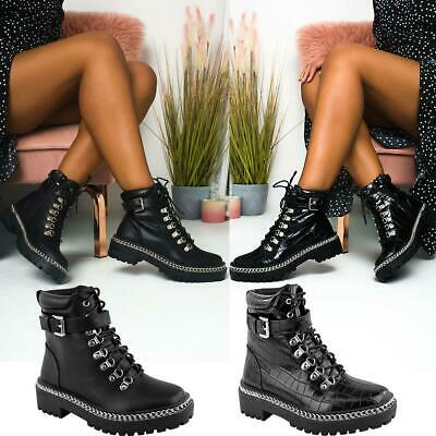 New Womens Chunky Platform Black Lace Up Low Heel Ankle Boots Grip Cleated Sole