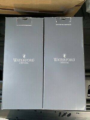 """2 Waterford Crystal """"Lismore Essence"""" Gold Rim Water Glasses - 8 1/2"""""""