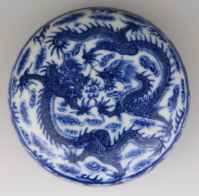 Antique Chinese Blue White Porcelain Dragon Box Marked 19th C Qing