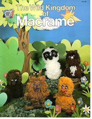 Vintage The Wild Kingdom of Macrame Pattern Booklet Animals Lion,Cat,Bear,Mouse