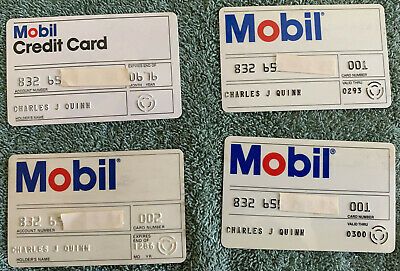 Lot of 4 Vintage Mobil Credit Cards - 1976, 1986, 1993 and 2000