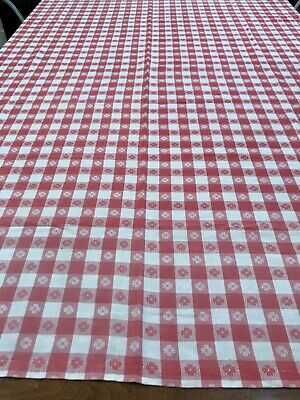 Vintage 52 X 63 inch Cotton Red White Check Gingham Table Cloth picnic BBQ barn