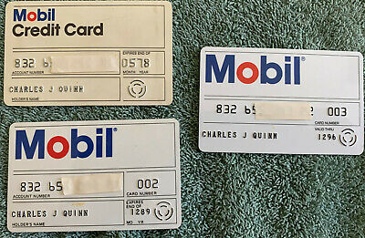 Lot of 3 Vintage Mobil Credit Cards - 1978, 1989, and 1996