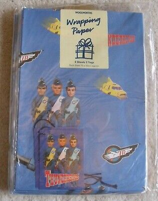 Woolworths  'Thunderbirds' Vintage Wrapping Paper 12 Packs -  2 Sheets & 2 Tags