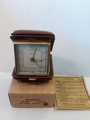 Vintage Bradley No.4950 Travel Alarm Clock Made in Germany Box and Instructions