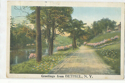 Greetings from BETHEL, NEW YORK - Postcard & 1922 - 4 BAR CANCEL