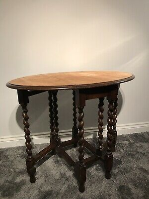 Antique Barley Twist Oval Gate Leg Table-dinning-occasional-Wooden-Vintage