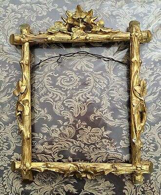 Antique Ornate Gold Gilt Wood Rococo Style Picture Art Frame (Inset 12 x 10) NR