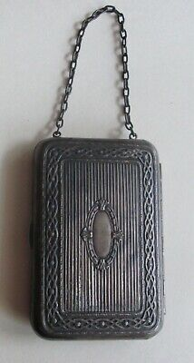Antique Edwardian Dance Coin Holder Compact on Chain