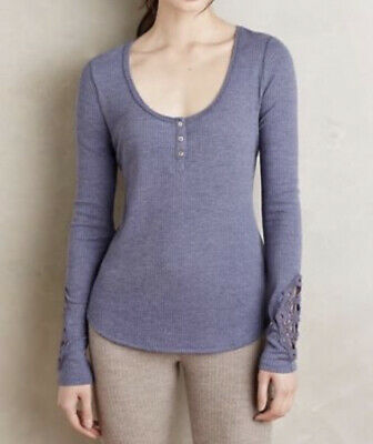 NWT $60 Anthropologie Scooped Henley SMALL Blue By Eloise Women Lounge Thermal
