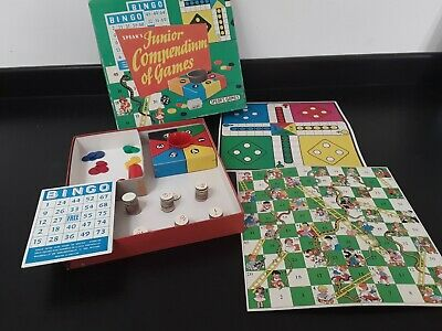Vintage Board Game - Spears Games - Junior Compendium of Games ludo bingo snakes