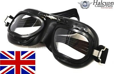 Hand Made Halcyon Mark 10 Racing Goggles Driving / Riding / Flying All Black