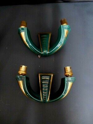 A Pair Of French Art Deco Style Ceramic Double Wall Lights
