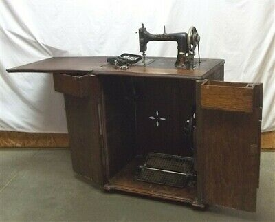 New Cottage Treadle Sewing Machine, Vintage Cast Iron Table Base, Antique Sewing