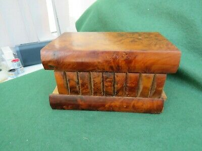Vintage Burr Walnut Puzzle Box (With Key) In Good Condition