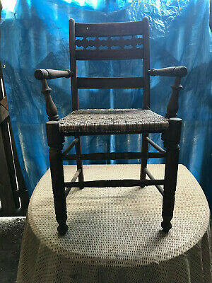 Antique Arts & Crafts Cane Bottom Turned Wood Chair w/ Carved Back Unusual